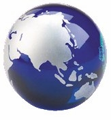 Blue Glass Globe Paperweight & Awards