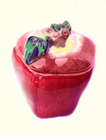 Colorful Ceramic Apple Candy/Cookie Jar