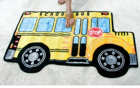 Colorful School Bus Area Rug