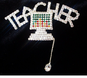 Computer Teacher Rhinestone Pin