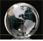 Crystal Globe <BR>Paperweight & Awards