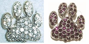 Crystal Paw Print Pin - Purple or Clear
