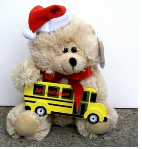 Cute Fuzzy School Bus Santa Bear - Personalizable
