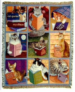 DICSONTINUED!  Cat /Book theme woven throws