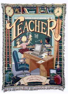 DISCONTINUED! Teacher with Computer Theme Woven Throw Coverlet