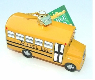 Elegant Blown Glass School Bus Ornament -ON SALE!