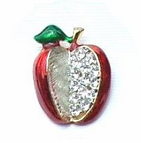 Enamel and Rhinestone Apple Pin- only 4 left!