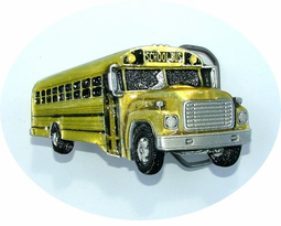 Enamel on Pewter School Bus Belt Buckle