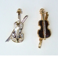 Enamel & Rhinestone Violin Fashion Pins
