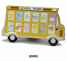 Enameled or Silvertone School Bus Photo Frame