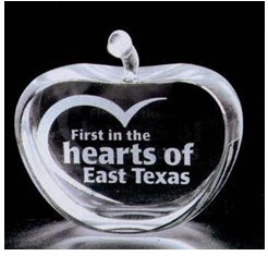 Etched Crystal Apple Award with Large Message Area