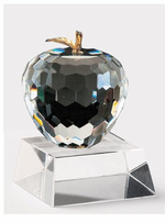 Faceted Crystal Apple with Brass or Platinum Leaf by Badash