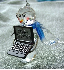 Faux Crystal Ice Computer Snow Man Ornament-ON SALE!