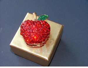 Faux Limoges Rhinestone Encrusted Apple Locket/Trinket Box