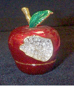 Faux Limoges  Rhinestone & Red Enamel Hinged Apple Box