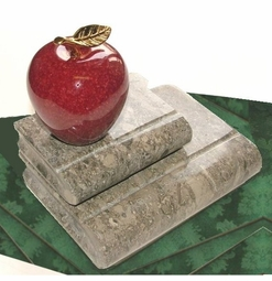 For that Special Librarian or Teacher of Reading...Marble Books with Apple or Globe