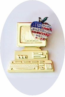"""""""Freedom to Teach"""" Patriotic Computer Pin - ON SALE!"""