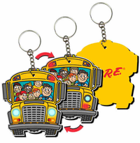 Fun 3-D Lenticular School Bus Keyring