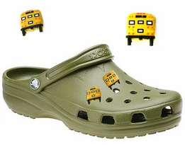 Fun School Bus Plugs, Crocks (TM) Decor for your Beach Clogs/4-Pak