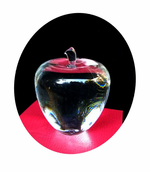 IN STOCK!   Gleaming Crystal Apple Gift, Award or Paperweight that can be Sandblasted with your Text!