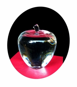 IN STOCK!   Large Gleaming Crystal Apple Gift, Award or Paperweight that can be Sandblasted with your Text!