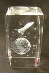 Globe, NASA,  Aerospace Technology Shuttle Paperweight Laser Crystal