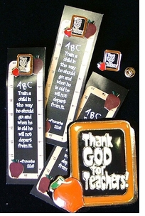 Great Value! Teacher Bookmark <BR>with attached Lapel Pin 5/Pak