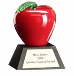 Handblown Red or Green Glass Apple Award on Base
