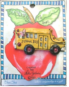 Heather Goldminc Collectible School Bus Ceramic Pin - SOLD OUT!