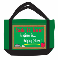 Large Special Education Teacher cotton zippered Tote-CLEARANCE!