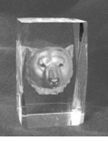 Lazer etched Bear Mascot Crystal Paperweight/Award