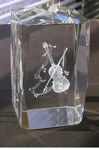 Lazer etched crystal Music Paperweights / Awards - Violin, Grand Piano, Sax, Guitar