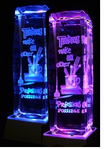 Lazer Etched Crystal Paperweight/Awards