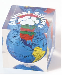 Lucite Globe Paperweight