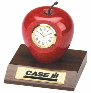 Marble Apple Clock On Base