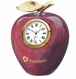 Marble Apple Clock with Brass Stem