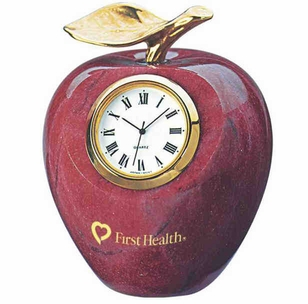 Marble Apple Clock with Brass Stem with Optional Wood Base