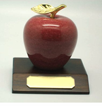 Marble Apple on Walnut Base