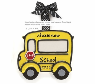 New Ceramic School Bus Ornament