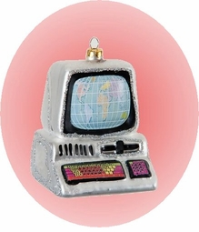 Colorful Hand made Blown Glass Computer Ornament - ON SALE!