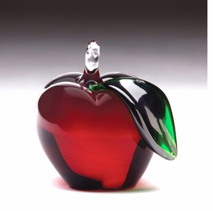 NEW! - Exquisite Hand Blown Glass Red Apple with Green Leaf