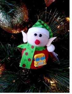 New for 2013 - Adorable LIGHT UP Elf carries a school Bus