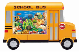 New Fun! School Bus Tropical Fish tank or Jungle Animal Motion Lamp