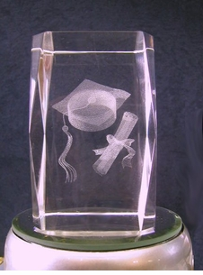 NEW! Graduation Lazer Crystal Paperweight/Award