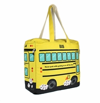 New - LARGE School Bus Insulated Canvas Zip Tote/Diaper bag - BACK IN STOCK!