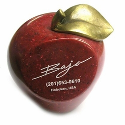 NEW! Red Faux Marble Stone Apples with Antiqued Brass Finish Stem