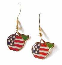 Patriotic Apple Earrings