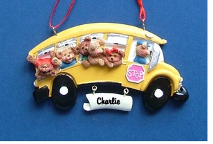 Personalizable Yellow School Bus with Bears Ornament
