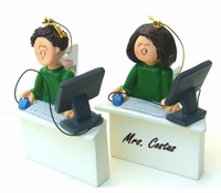 Personalize these Computer Workspace Ornaments - Blonde or Brown Hair