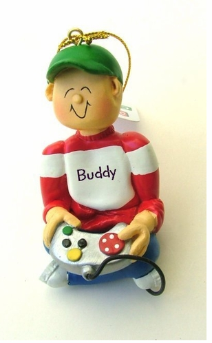 Personalize this Cute Game-Boy Ornament - Caucasian OR Afro American